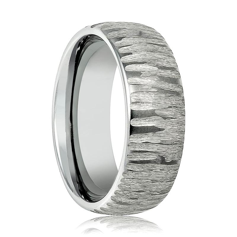 Aydins Mens Tungsten Wedding Band Tree Bark Carved Textured Finish 8mm Tungsten Carbide Ring - Rings - Aydins_Jewelry