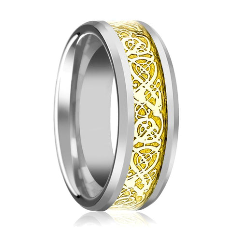 Image of Aydins Tungsten Wedding Band Polished w/ Gold Celtic Dragon Inlay 8mm Tungsten Carbide Ring - Rings - Aydins_Jewelry