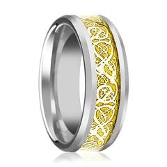 Aydins Tungsten Wedding Band Polished w/ Gold Celtic Dragon Inlay 8mm Tungsten Carbide Ring - AydinsJewelry