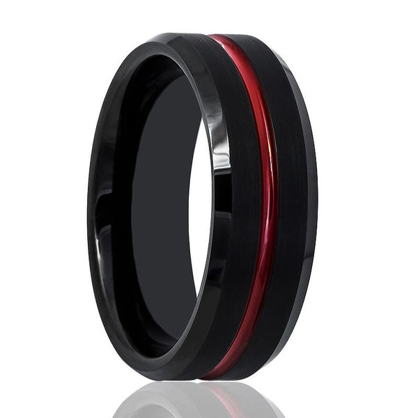 Aydins Tungsten Mens Wedding Band Black Brushed w/ Red Groove 8mm Tungsten Carbide Ring - AydinsJewelry