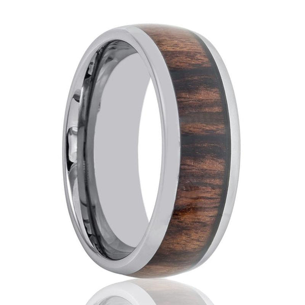 Aydins Tungsten Wedding Ring with Rose Wood Inlay Domed 8mm Tungsten Wedding Band - AydinsJewelry