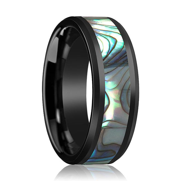 Black Ceramic Ring - Shell Inlay - Ceramic Wedding Band - Beveled - Polished Finish - 8mm - Ceramic Wedding Ring - AydinsJewelry