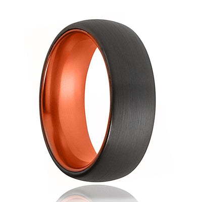 Tungsten Orange Ring - Mens Wedding Band - Black Tungsten Brushed - Atomic Orange Tungsten - Tungsten Wedding Ring - Man Tungsten Ring - AydinsJewelry