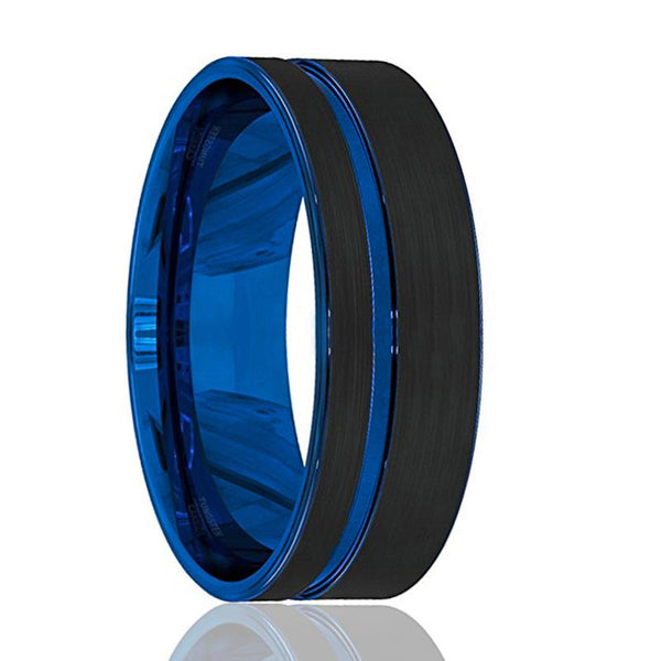 Mens Wedding Band - Tungsten Wedding Band - Black Tungsten Brushed - Thin Side Blue Groove Flat Edge - Tungsten Wedding Ring - Man Tungsten Ring - 8mm - AydinsJewelry
