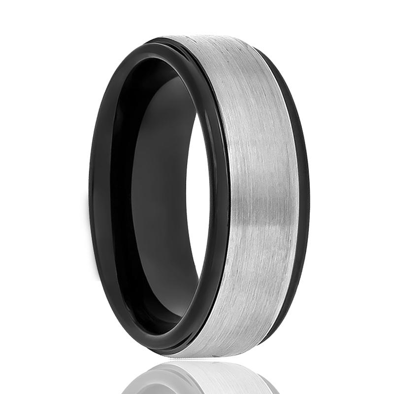 Aydins Tungsten Ring Two-tone Black & Grey Brushed Center Stepped Edge Wedding Band 8mm Tungsten Carbide Wedding Ring - Rings - Aydins_Jewelry
