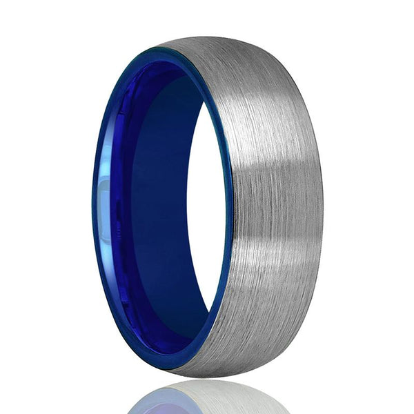 Tungsten Wedding Band - Men and Women - Comfort Fit - Blue Round Domed - Brushed Tungsten Carbide Wedding Ring - 2mm - 4mm - 6mm - 8mm - AydinsJewelry
