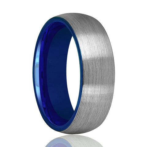 LIAM Domed Silver Brushed Tungsten Wedding Band With Blue Inside for Men Women - Rings - Aydins_Jewelry