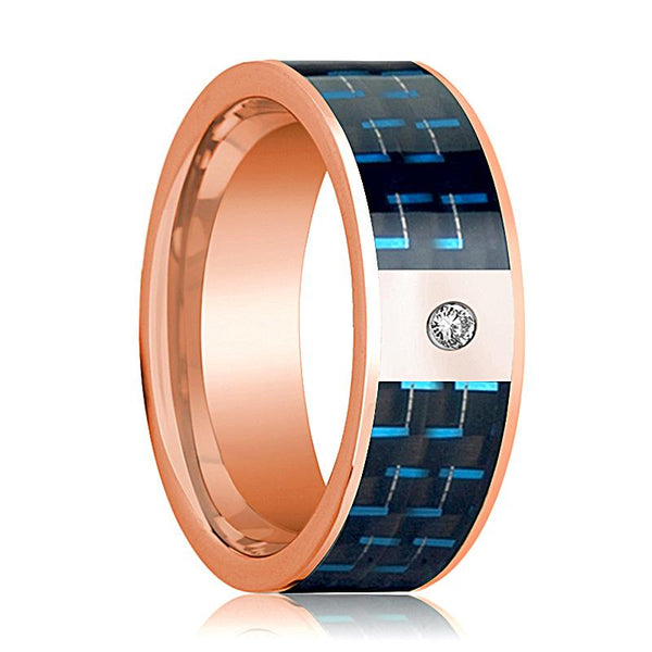 Mens Wedding Band 14K Rose Gold and Diamond with Black & Blue Carbon Fiber Inlay Flat Polished Design - AydinsJewelry