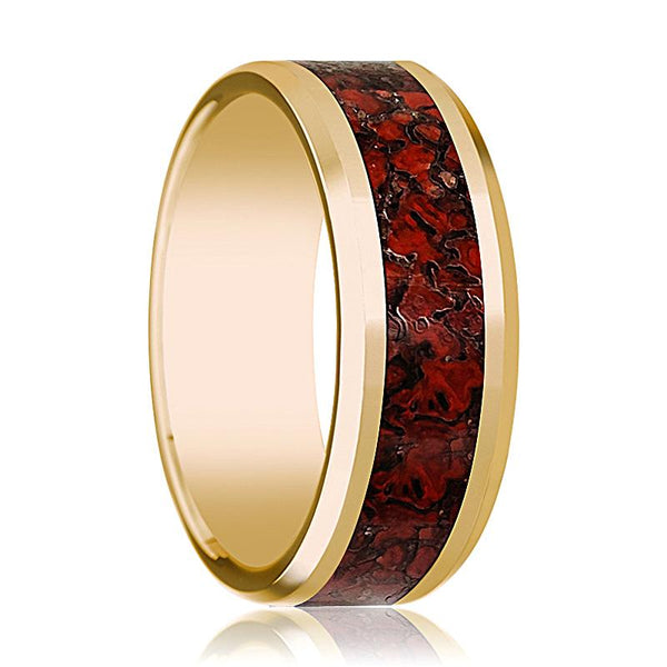 Red Dinosaur Bone Inlay - Dinosaur Bone Ring - Beveled Edges 14K Yellow Gold - Polished Finish - 8mm - Gold Wedding Ring