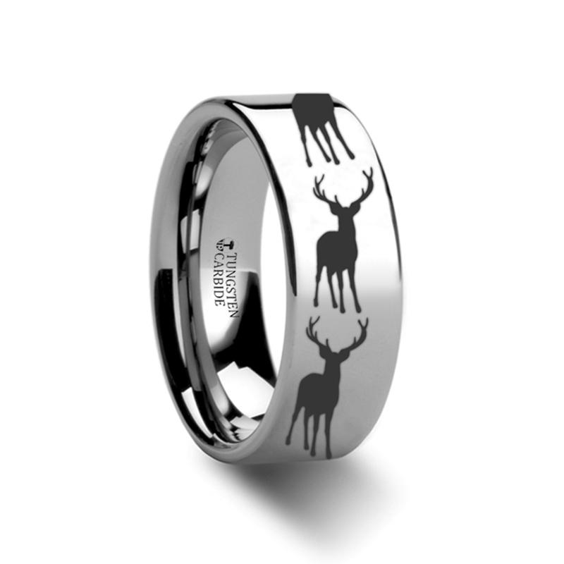 Animal Design Ring - Stag Fawn Deer Elk Print -  Laser Engraved - Flat Tungsten Ring - 4mm - 6mm - 8mm - 10mm - 12mm - AydinsJewelry