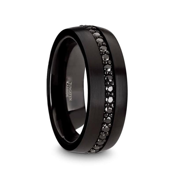 Black Sapphires Wedding Ring - Black Tungsten Ring - Sapphire Tungsten - Domed - Multiple Black Sapphires - Tungsten Wedding Band - 8mm - AydinsJewelry