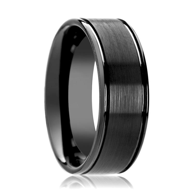 DAVID Flat Black Ceramic Wedding Band with Brushed Center and Dual Offset Grooves - 6MM - 8MM - Rings - Aydins_Jewelry