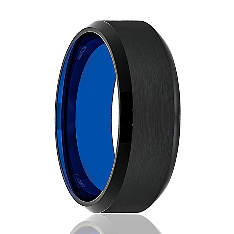 LEGION Blue Tungsten Wedding Band Black Brushed - Rings - Aydins_Jewelry
