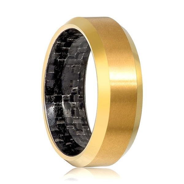 Aydins Gold Tungsten Ring High Polished Wedding Band with Carbon Fiber Inlay 8mm Tungsten Carbide Wedding Ring - AydinsJewelry