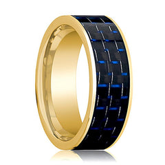 Mens Wedding Band 14K Yellow Gold with Blue & Black Carbon Fiber Inlay Flat Polished Design - AydinsJewelry