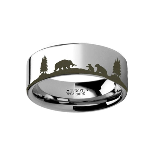 Animal Landscape Scene - Bears - Bear Cubs Ring - Laser Engraved - Flat Tungsten Ring - 4mm - 6mm - 8mm - 10mm - 12mm - AydinsJewelry