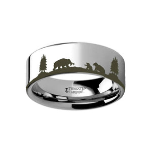 Animal Landscape Scene Bears - Bear Cubs Ring Laser Engraved Flat Couple Matching Band - Rings - Aydins_Jewelry