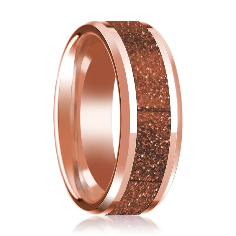 14K Rose Gold Wedding Band with Orange Goldstone Inlay Beveled Edge Polished Design - Rings - Aydins_Jewelry