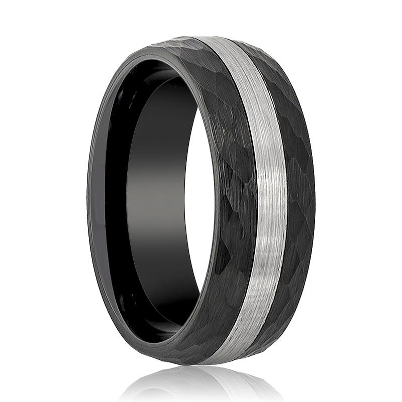Aydins Tungsten Ring Black Hammered Domed w/ Silver Brushed Stripe Center Wedding Band 8mm Tungsten Carbide Wedding Ring - Rings - Aydins_Jewelry