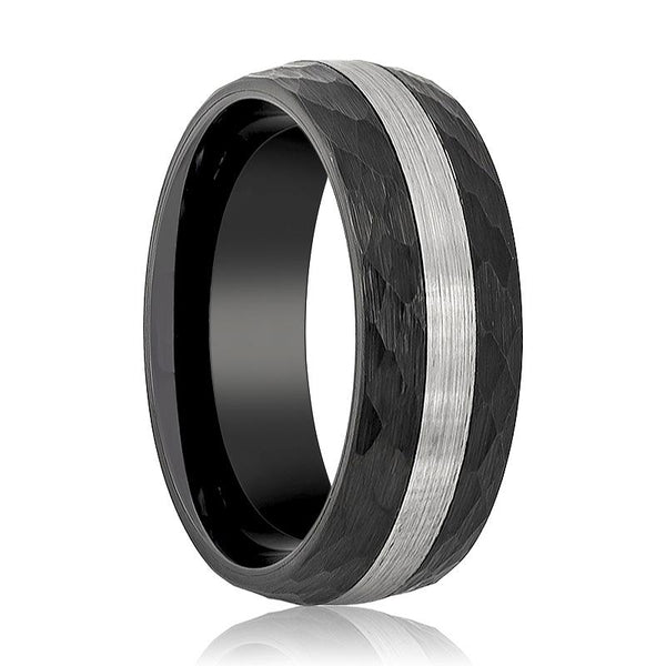 Aydins Tungsten Ring Black Hammered Domed w/ Silver Brushed Stripe Center Wedding Band 8mm Tungsten Carbide Wedding Ring - AydinsJewelry