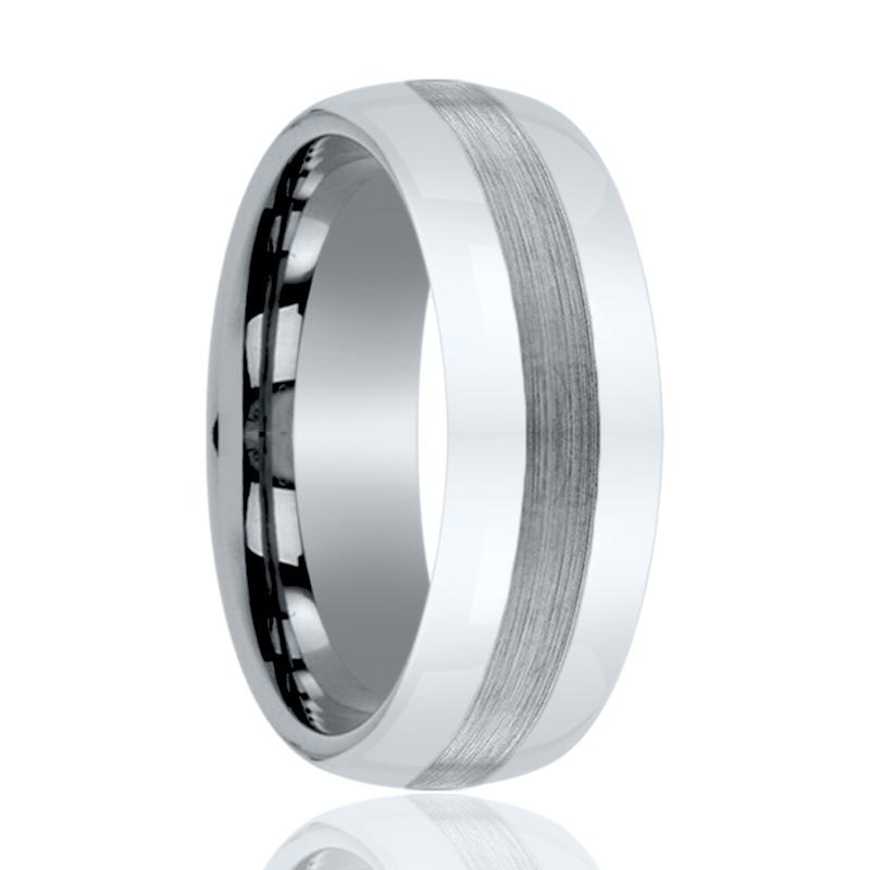Domed Silver Tungsten Couple Matching Ring with Brushed Center - 6MM - 8MM - Rings - Aydins_Jewelry