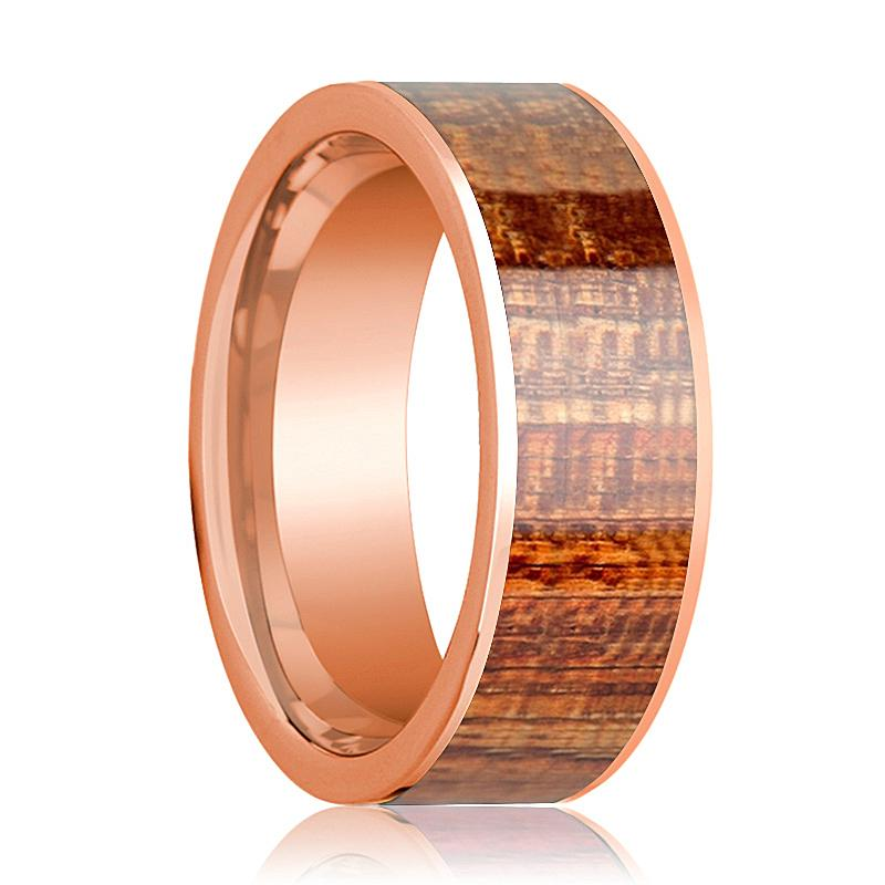 14k Rose Gold Polished Flat Mahogany Wood Inlay Ring for Men - 8MM - Rings - Aydins_Jewelry
