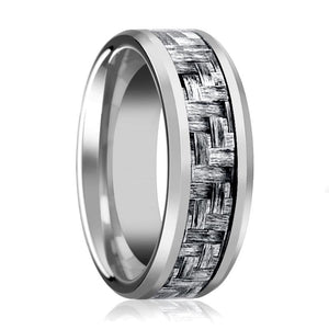Aydins Mens Tungsten Wedding Band w/ Grey Carbon Fiber Inlay Beveled Edges 8mm Tungsten Carbide Ring - Rings - Aydins_Jewelry