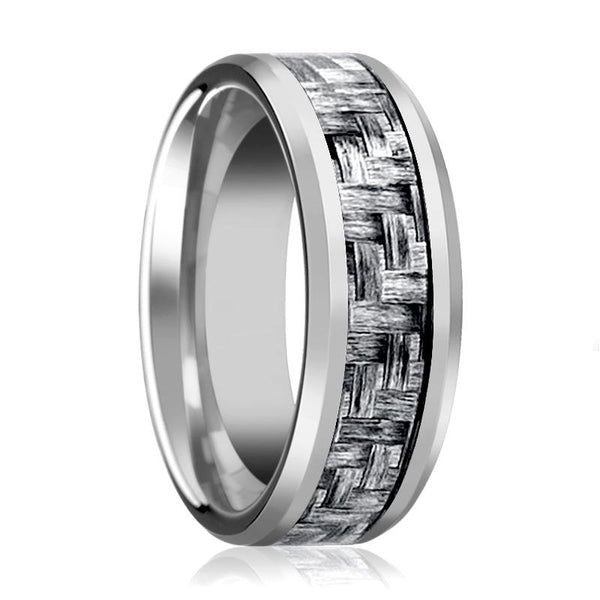 Aydins Mens Tungsten Wedding Band w/ Grey Carbon Fiber Inlay Beveled Edges 8mm Tungsten Carbide Ring - AydinsJewelry