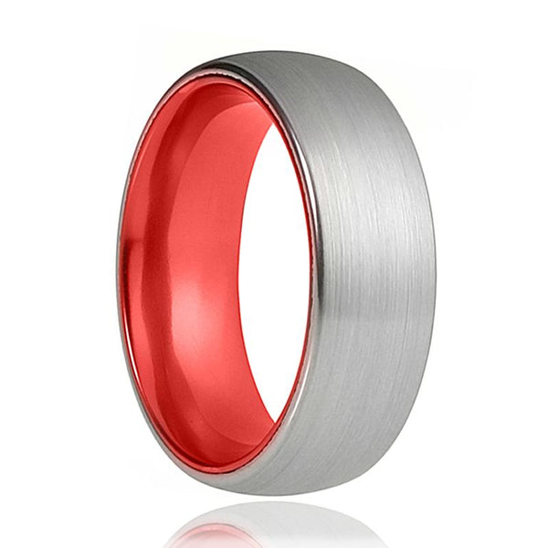 Tungsten Red Ring - Mens Wedding Band - Silver Tungsten Brushed - Fire Red Tungsten - Tungsten Wedding Ring - Man Tungsten Ring - 8mm - AydinsJewelry
