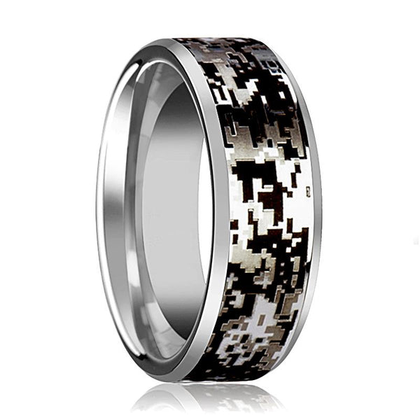 Camo Wedding Band - Silver Tungsten - Digital Camouflage - Tungsten Wedding Band - Beveled - Polished Finish - 8mm - Tungsten Wedding Ring - AydinsJewelry