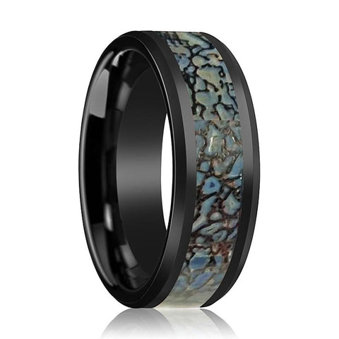Image of AJAX Black Ceramic Couple Wedding Band Blue Dinosaur Bone Inlay Polished Finish - Rings - Aydins_Jewelry