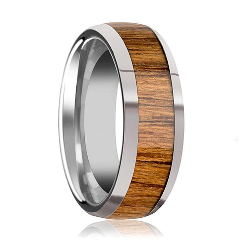 Image of Tungsten Wood Ring - Teak Wood - Tungsten Wedding Band - Polished Finish - 8mm - Tungsten Wedding Ring - AydinsJewelry