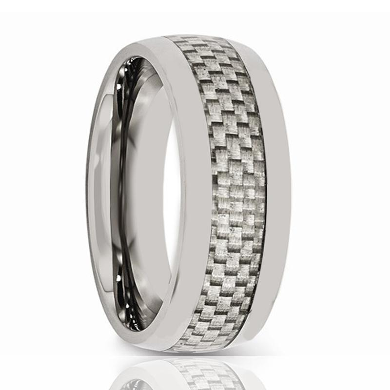 Aydins Mens Tungsten Wedding Band w/ White Carbon Fiber Inlay Domed 8mm Tungsten Carbide Ring - Rings - Aydins_Jewelry