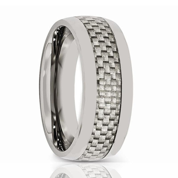 Aydins Mens Tungsten Wedding Band w/ White Carbon Fiber Inlay Domed 8mm Tungsten Carbide Ring - AydinsJewelry
