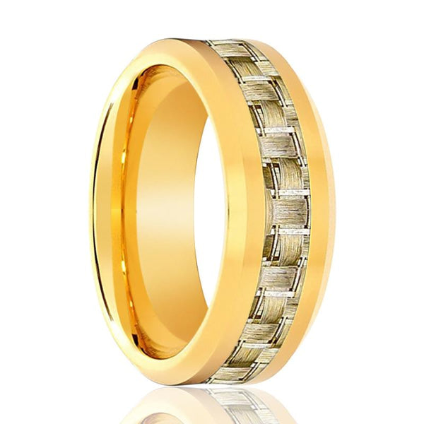 Aydins Gold Tungsten Ring High Polished Wedding Band w/ Gold Carbon Fiber Inlay 8mm Tungsten Carbide Wedding Ring - AydinsJewelry