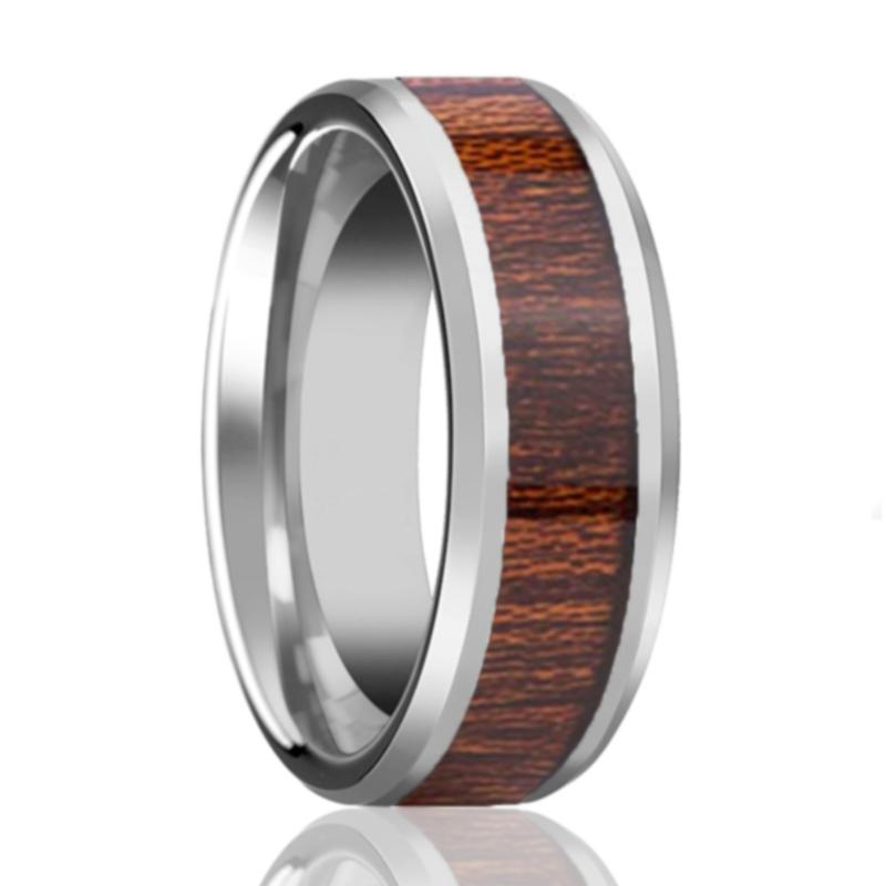 Aydins Tungsten Wedding Ring with Koa Wood Inlay Beveled Edge 8mm Tungsten Wedding Band - Rings - Aydins_Jewelry