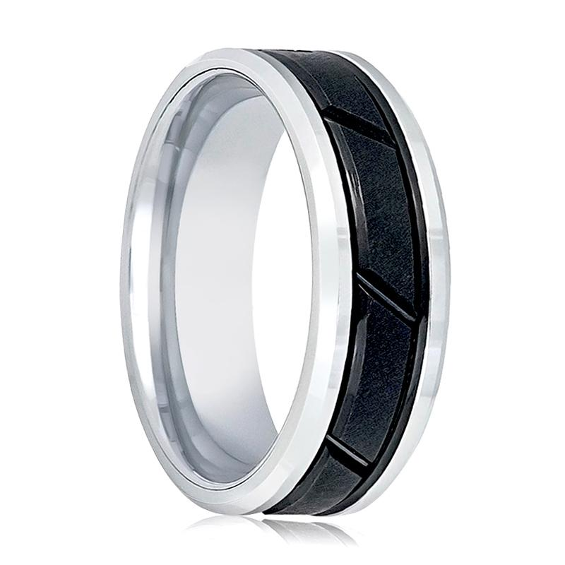 Aydins Mens Tungsten Band Two Tone Black Diagonal Gooved Center Design 8mm Tungsten Carbide Wedding Ring - Rings - Aydins_Jewelry