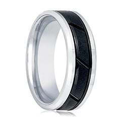 Aydins Mens Tungsten Band Two Tone Black Diagonal Gooved Center Design 8mm Tungsten Carbide Wedding Ring - AydinsJewelry