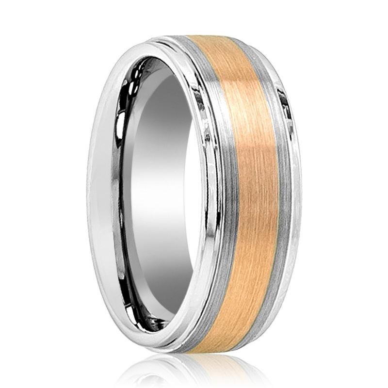 Aydins Mens Tungsten Carbide Wedding Band Ring Brushed Rose Gold Center Stepped Edge 8mm - Rings - Aydins_Jewelry
