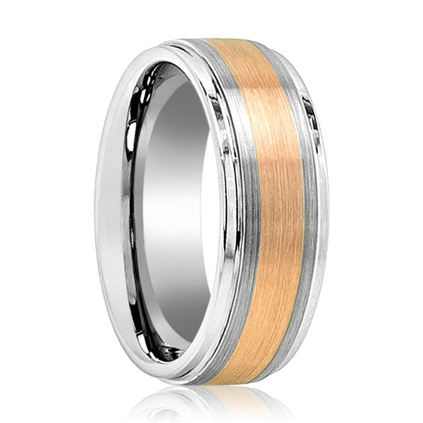 Aydins Mens Tungsten Carbide Wedding Band Ring Brushed Rose Gold Center Stepped Edge 8mm - AydinsJewelry