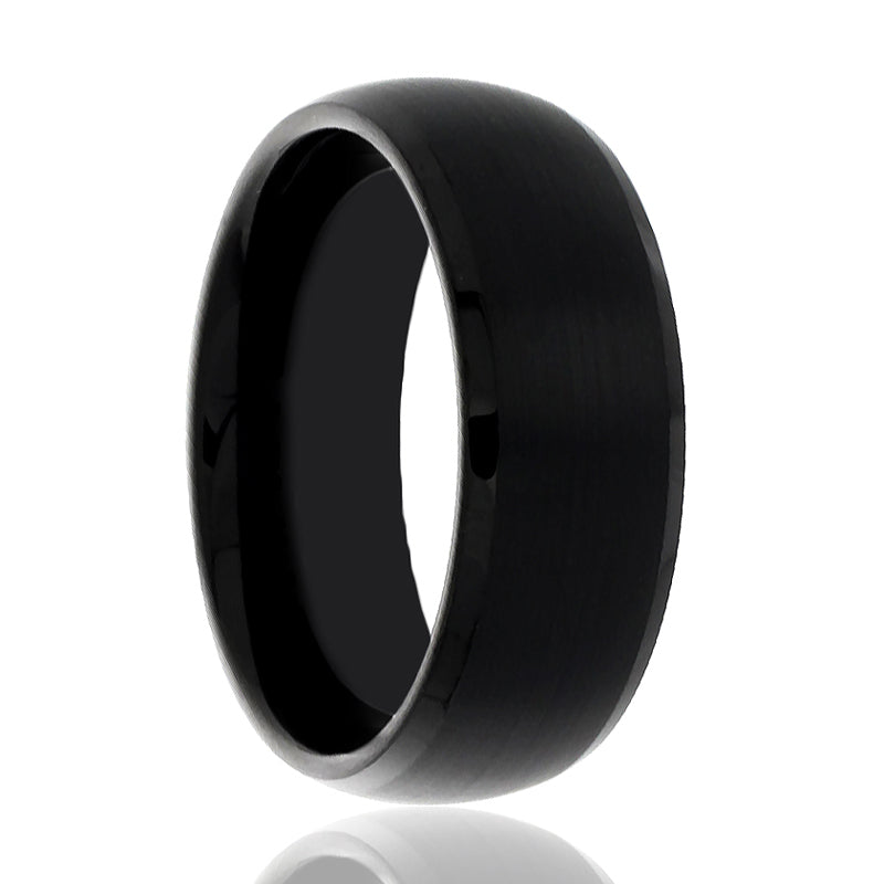 Black Ring with Domed Brushed Center and High Polished Beveled Edges