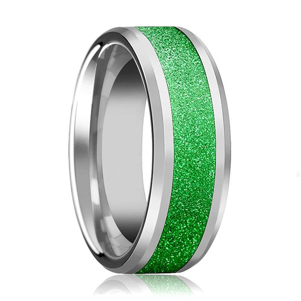 Tungsten Sparkling Green Inlay - Tungsten Wedding Band - Beveled - Polished Finish - 8mm - Tungsten Wedding Ring - AydinsJewelry