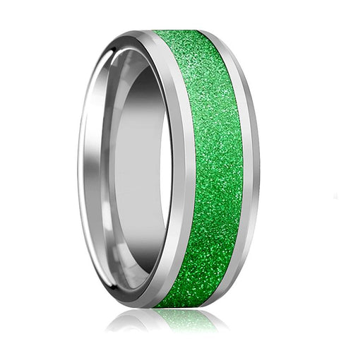 Image of Tungsten Sparkling Green Inlay - Tungsten Wedding Band - Beveled - Polished Finish - 8mm - Tungsten Wedding Ring - AydinsJewelry