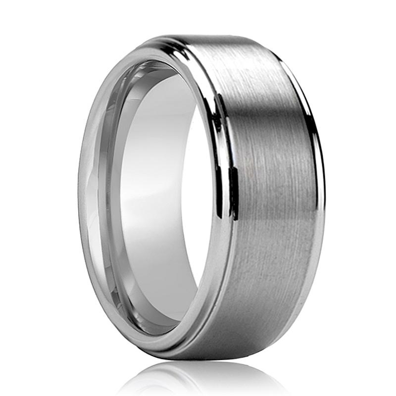 Beveled Men's Tungsten Wedding Band with Brushed Center and Polished Step Edges - Rings - Aydins_Jewelry