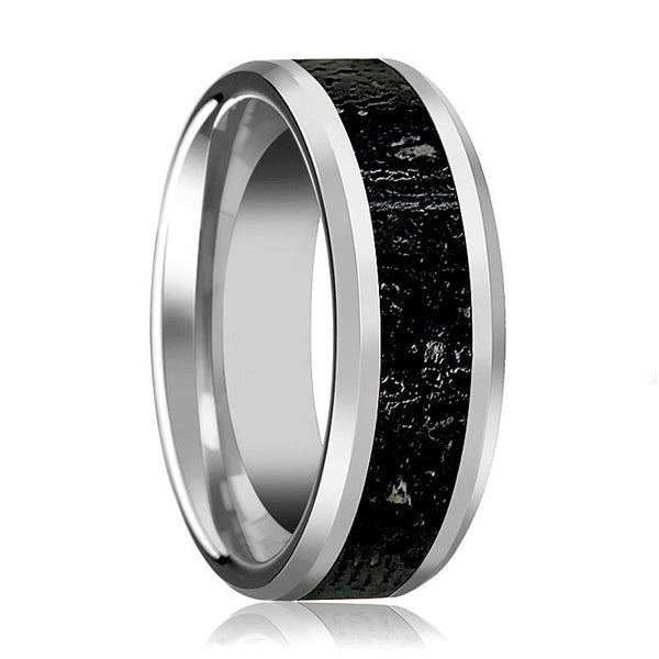 Tungsten Lava Rock Stone - Black & Gray Inlay - Tungsten Wedding Band - Beveled - Polished Finish - 8mm - Tungsten Wedding Ring - AydinsJewelry