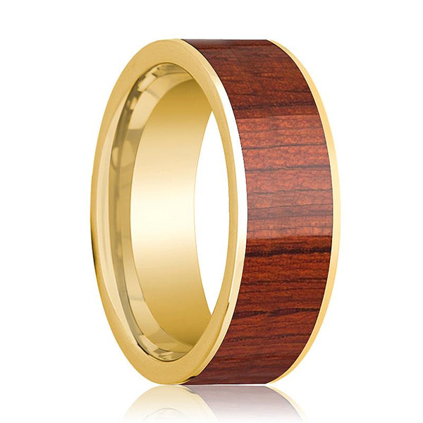 Mens Wedding Ring Polished 14k Yellow Gold Flat Wedding Band with Padauk Wood Inlay - 8mm - AydinsJewelry