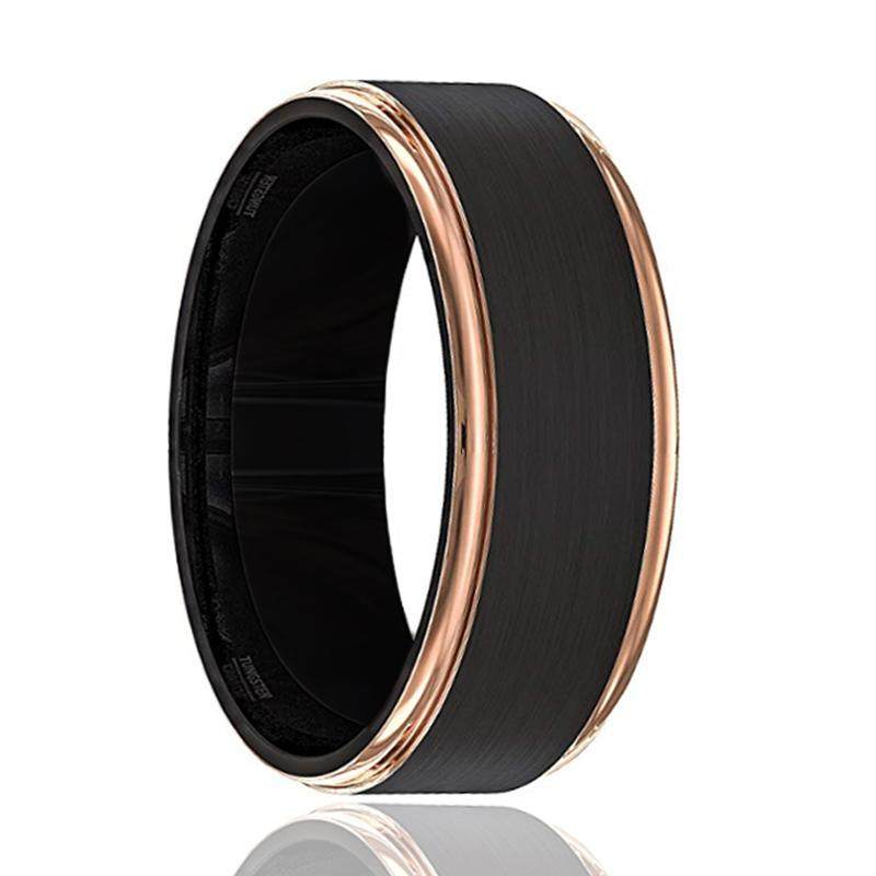 LEONARDO Rose Gold Stepped Edge Black Tungsten Ring - Rings - Aydins_Jewelry