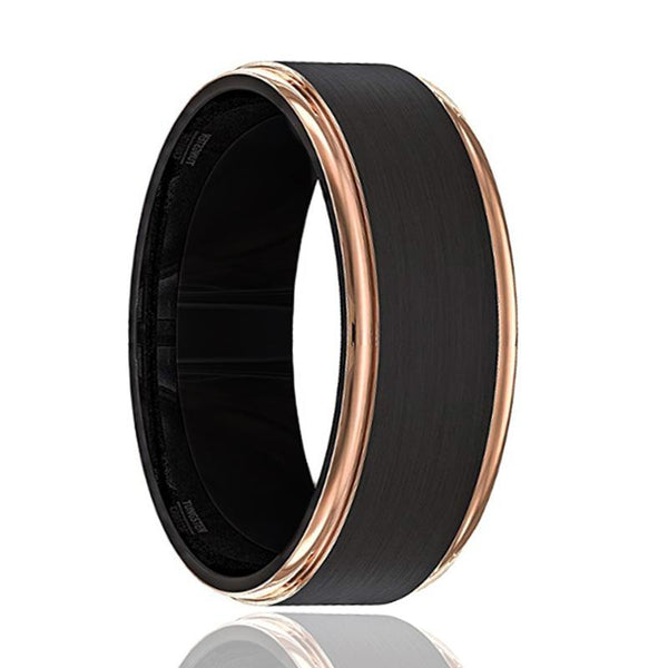 LEONARDO Rose Gold Stepped Edge Black Tungsten Ring