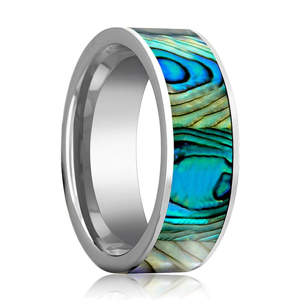 Tungsten Mother Of Pearl Inlay - Tungsten Wedding Band - Polished Finish - 8mm - Tungsten Wedding Ring - AydinsJewelry