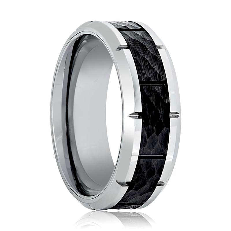 Aydins Mens Tungsten Band Black Hammered Design Center 8mm Tungsten Carbide Wedding Ring - Rings - Aydins_Jewelry